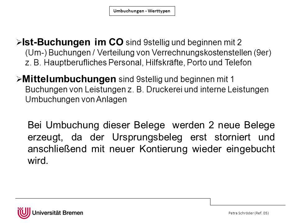 Petra Schröder (Ref. 05) Ist-Buchungen im CO sind 9stellig und beginnen mit 2 (Um-) Buchungen / Verteilung von Verrechnungskostenstellen (9er) z. B. H