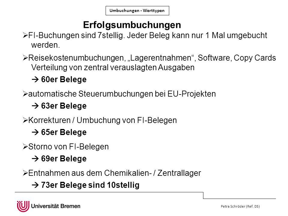 Petra Schröder (Ref. 05) FI-Buchungen sind 7stellig. Jeder Beleg kann nur 1 Mal umgebucht werden. Erfolgsumbuchungen Reisekostenumbuchungen, Lagerentn