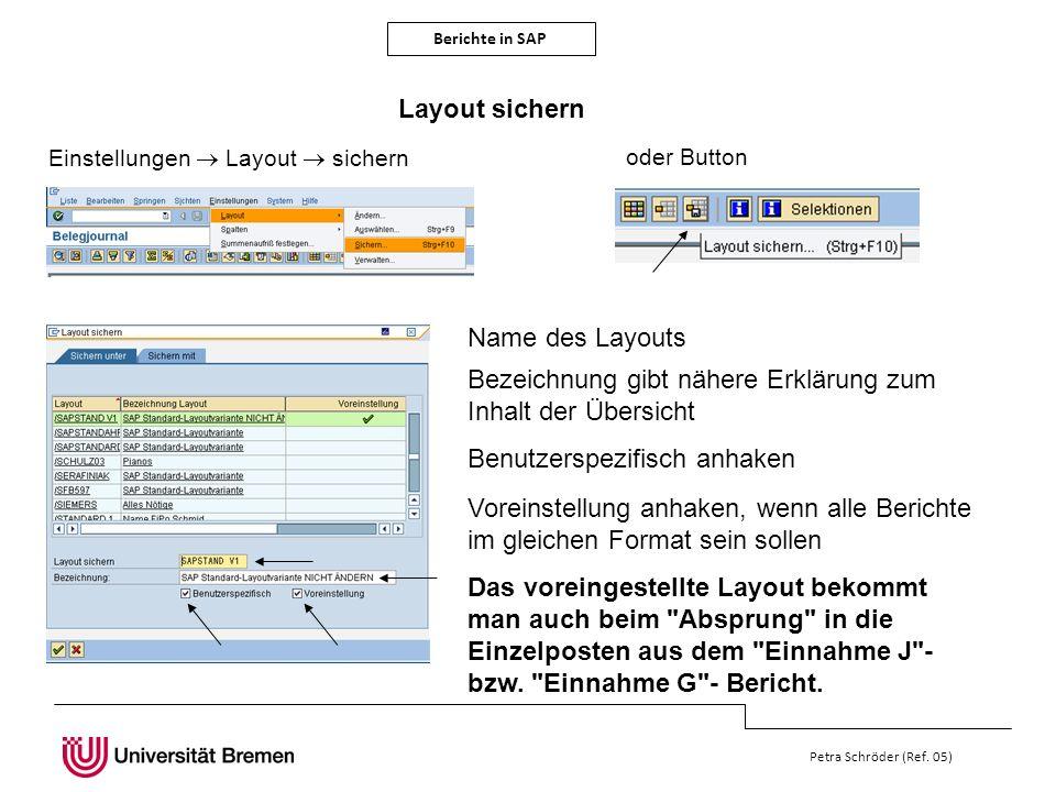 Berichte in SAP Petra Schröder (Ref. 05) Layout sichern Einstellungen Layout sichern oder Button Name des Layouts Bezeichnung gibt nähere Erklärung zu