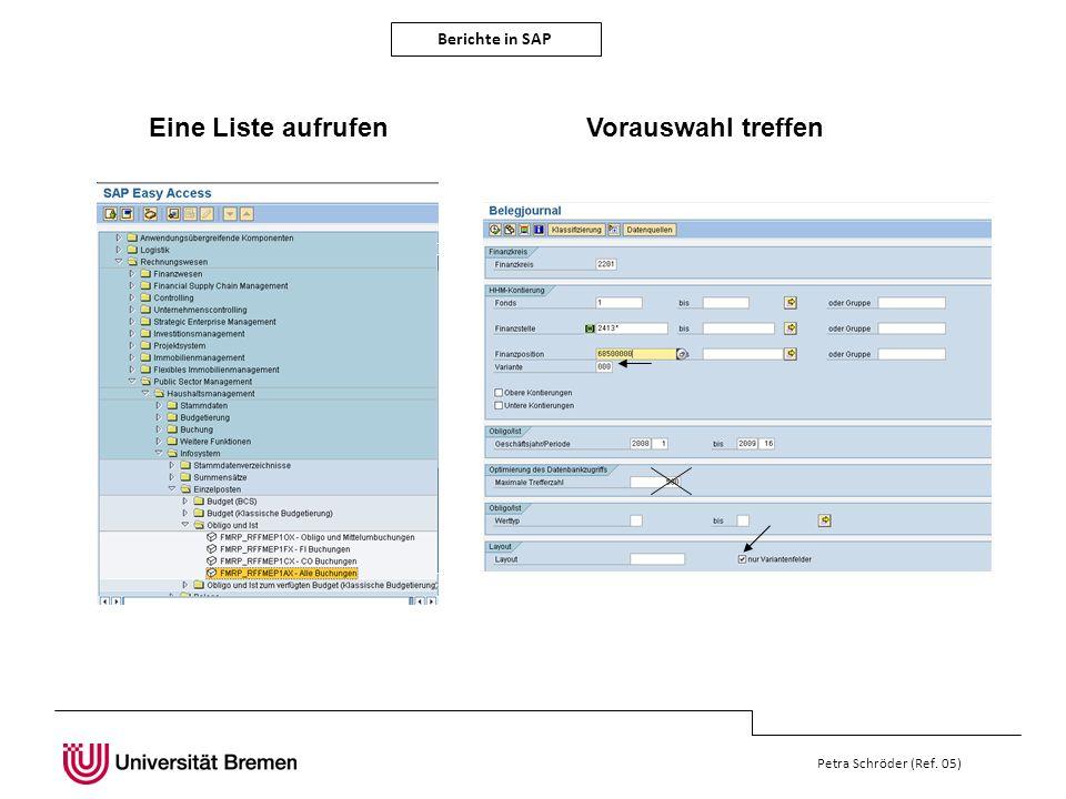 Berichte in SAP Petra Schröder (Ref. 05) Eine Liste aufrufen Vorauswahl treffen