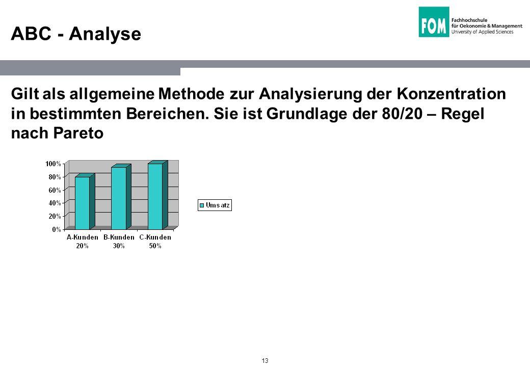 13 ABC - Analyse Gilt als allgemeine Methode zur Analysierung der Konzentration in bestimmten Bereichen. Sie ist Grundlage der 80/20 – Regel nach Pare