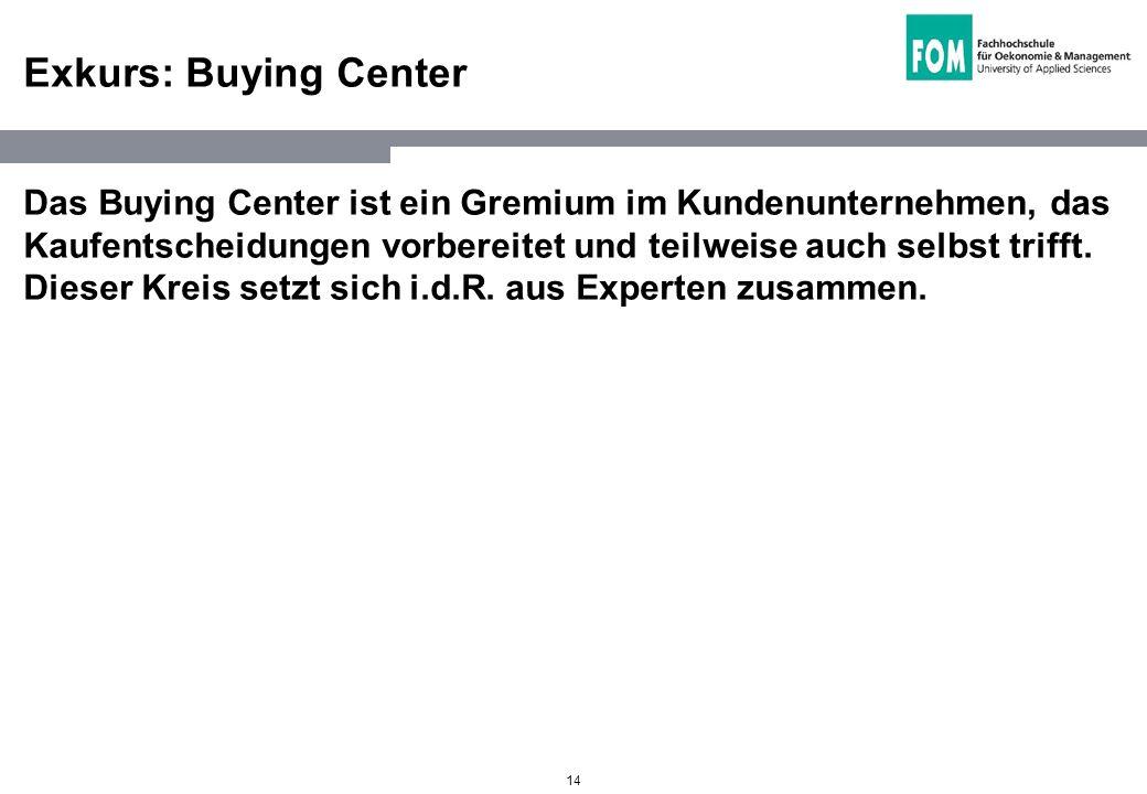 14 Exkurs: Buying Center Das Buying Center ist ein Gremium im Kundenunternehmen, das Kaufentscheidungen vorbereitet und teilweise auch selbst trifft.