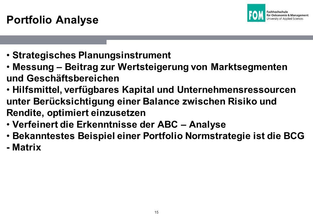 15 Portfolio Analyse Strategisches Planungsinstrument Messung – Beitrag zur Wertsteigerung von Marktsegmenten und Geschäftsbereichen Hilfsmittel, verf