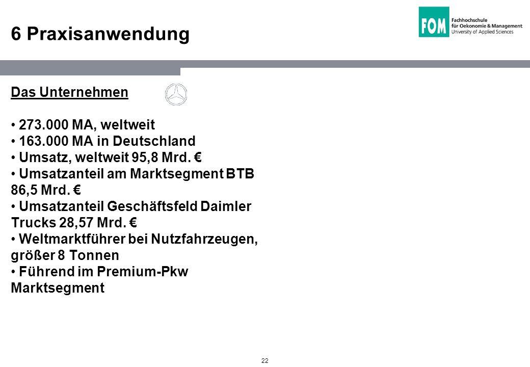 22 6 Praxisanwendung Das Unternehmen 273.000 MA, weltweit 163.000 MA in Deutschland Umsatz, weltweit 95,8 Mrd. Umsatzanteil am Marktsegment BTB 86,5 M