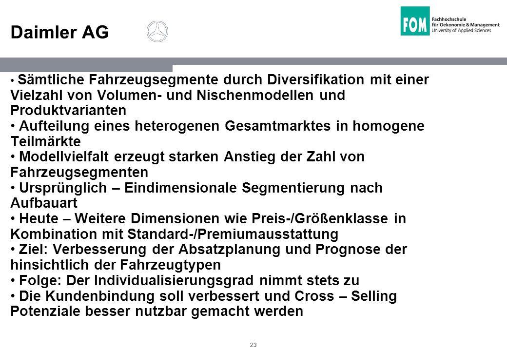 23 Daimler AG Sämtliche Fahrzeugsegmente durch Diversifikation mit einer Vielzahl von Volumen- und Nischenmodellen und Produktvarianten Aufteilung ein