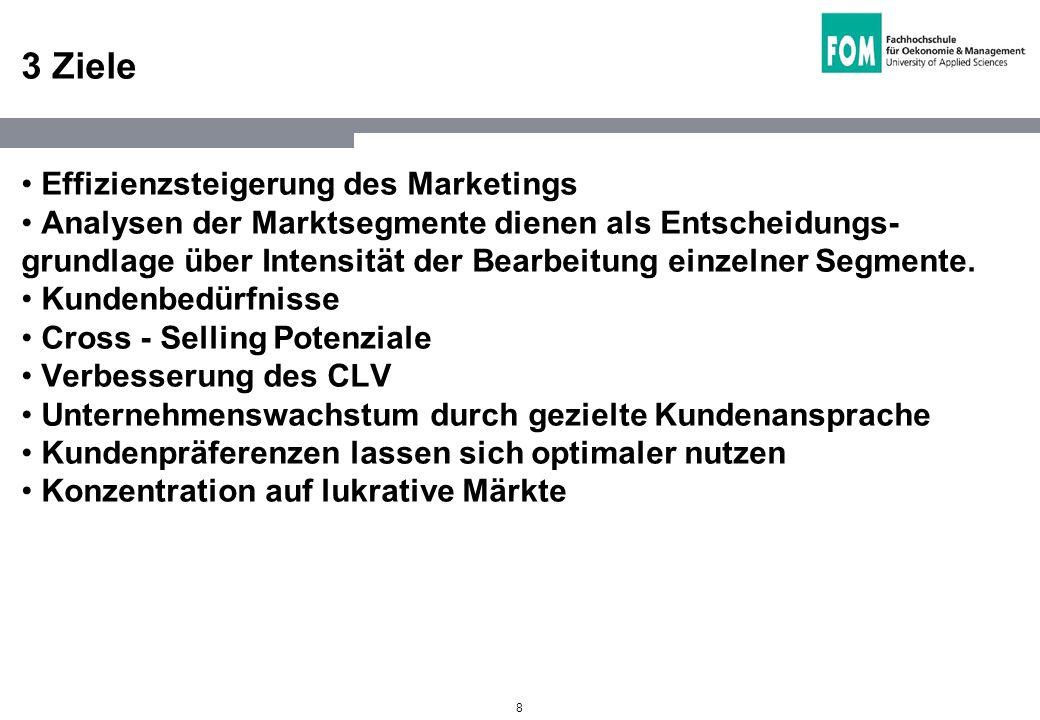 8 3 Ziele Effizienzsteigerung des Marketings Analysen der Marktsegmente dienen als Entscheidungs- grundlage über Intensität der Bearbeitung einzelner