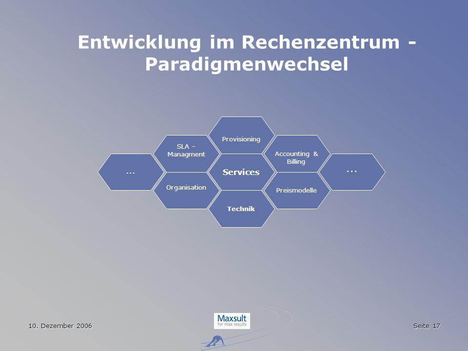 10. Dezember 2006 Seite 17 Entwicklung im Rechenzentrum - Paradigmenwechsel Services Technik Organisation Preismodelle SLA – Managment... Provisioning