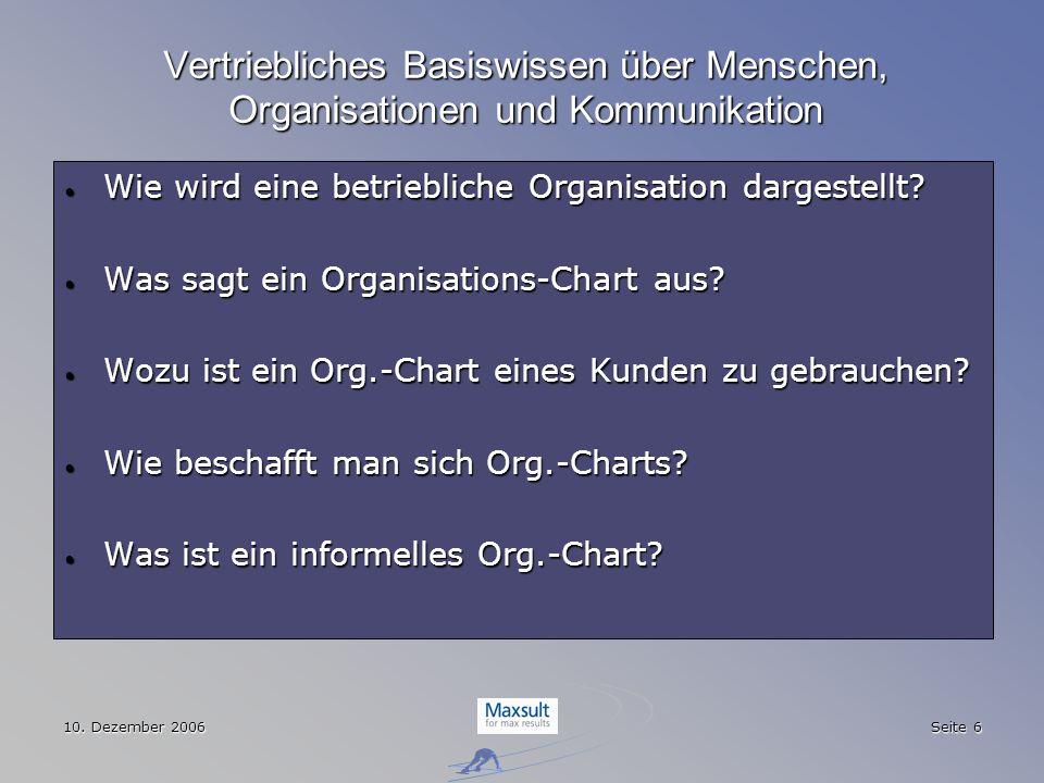 10. Dezember 2006 Seite 6 Vertriebliches Basiswissen über Menschen, Organisationen und Kommunikation Wie wird eine betriebliche Organisation dargestel