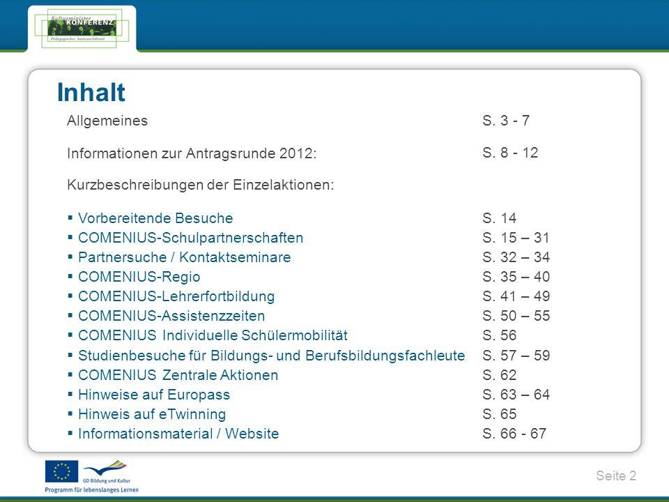 Seite 2 Inhalt AllgemeinesS.3 - 7 Informationen zur Antragsrunde 2012: S.