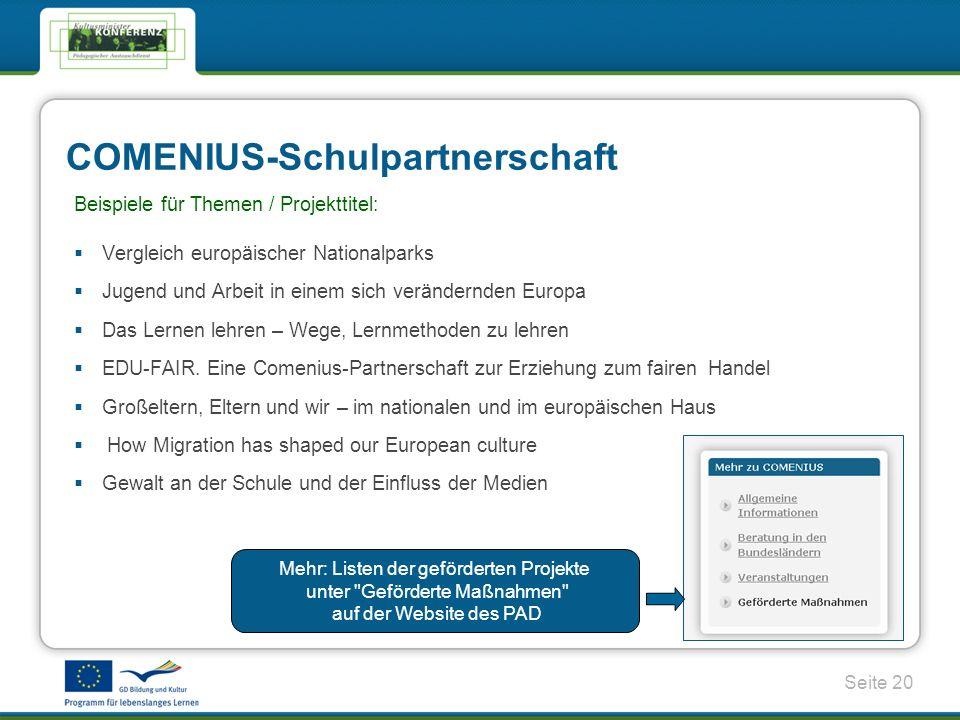 Seite 20 COMENIUS-Schulpartnerschaft Beispiele für Themen / Projekttitel: Vergleich europäischer Nationalparks Jugend und Arbeit in einem sich verändernden Europa Das Lernen lehren – Wege, Lernmethoden zu lehren EDU-FAIR.