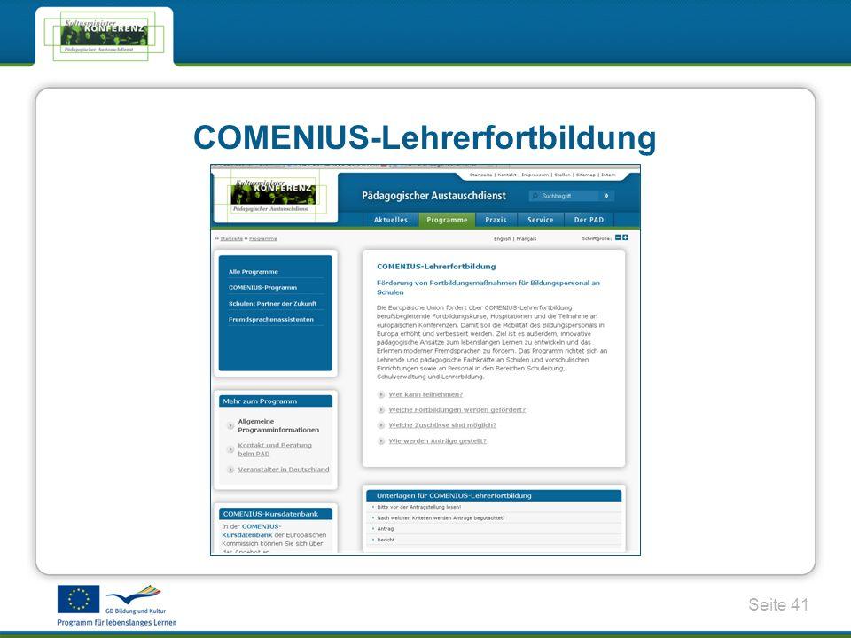 Seite 41 COMENIUS-Lehrerfortbildung