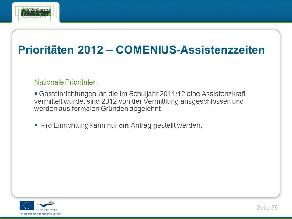 Seite 55 Prioritäten 2012 – COMENIUS-Assistenzzeiten Nationale Prioritäten: Gasteinrichtungen, an die im Schuljahr 2011/12 eine Assistenzkraft vermittelt wurde, sind 2012 von der Vermittlung ausgeschlossen und werden aus formalen Gründen abgelehnt Pro Einrichtung kann nur ein Antrag gestellt werden.