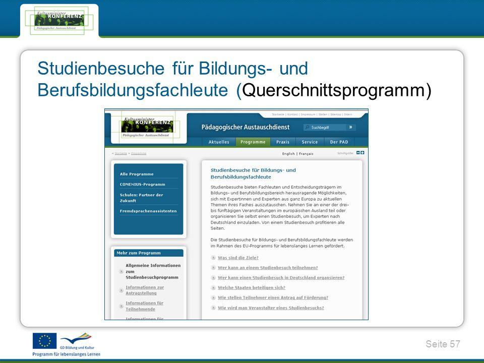Seite 57 Studienbesuche für Bildungs- und Berufsbildungsfachleute (Querschnittsprogramm)