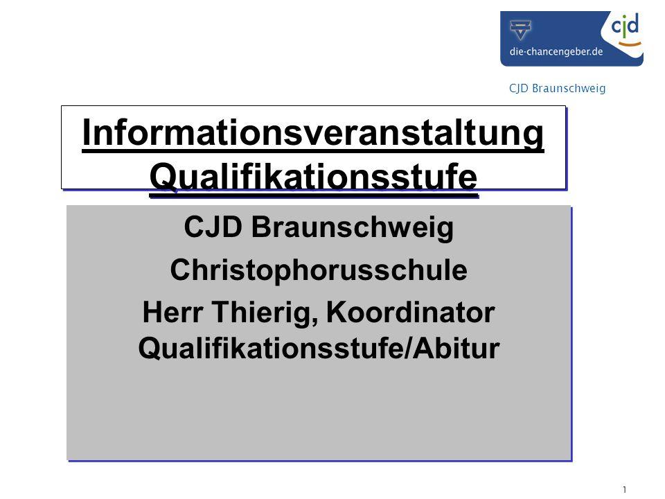 CJD Braunschweig 1 Informationsveranstaltung Qualifikationsstufe CJD Braunschweig Christophorusschule Herr Thierig, Koordinator Qualifikationsstufe/Ab