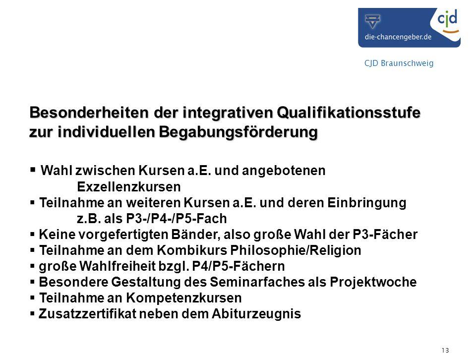 CJD Braunschweig 13 Besonderheiten der integrativen Qualifikationsstufe zur individuellen Begabungsförderung Wahl zwischen Kursen a.E. und angebotenen