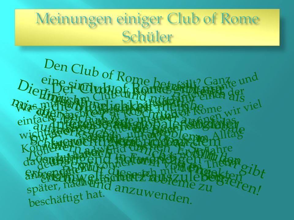 Was mir so am Club of Rome gefällt.