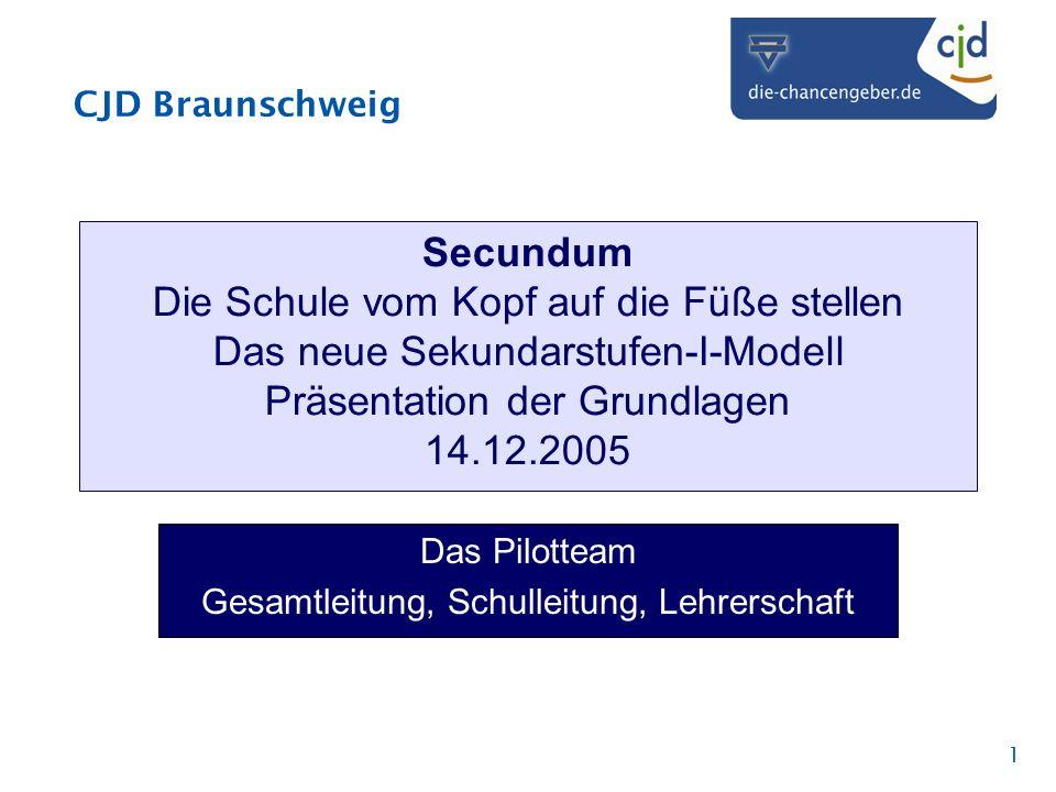 CJD Braunschweig 1 Secundum Die Schule vom Kopf auf die Füße stellen Das neue Sekundarstufen-I-Modell Präsentation der Grundlagen 14.12.2005 Das Pilot