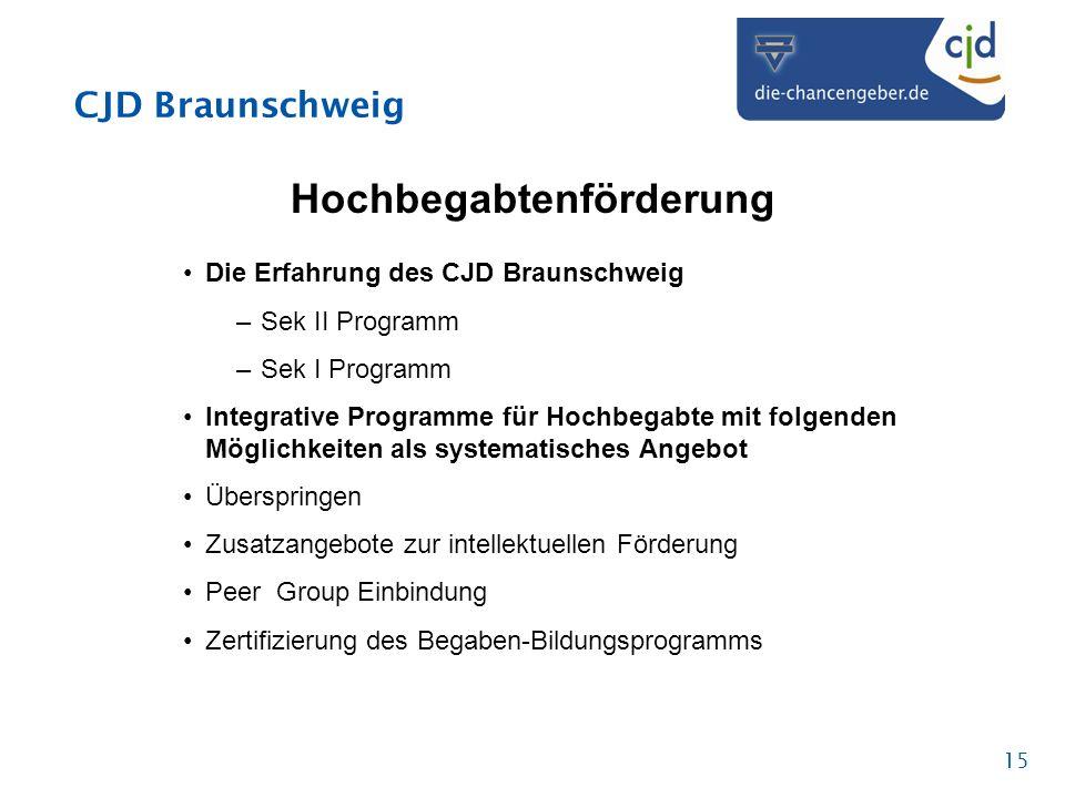 CJD Braunschweig 15 Hochbegabtenförderung Die Erfahrung des CJD Braunschweig –Sek II Programm –Sek I Programm Integrative Programme für Hochbegabte mi