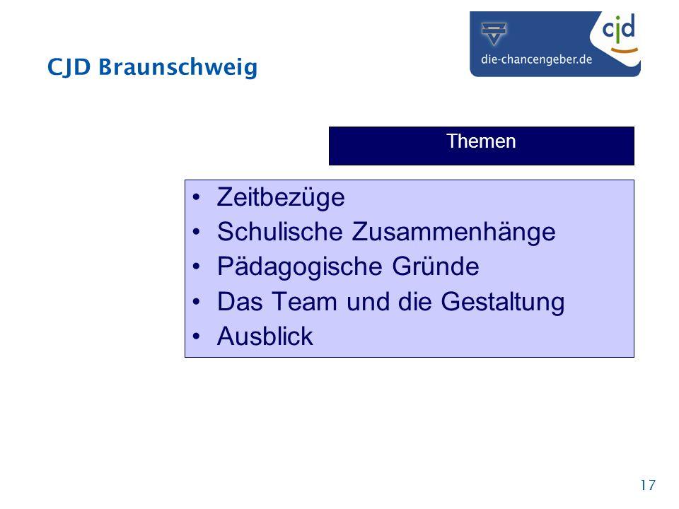 CJD Braunschweig 17 Themen Zeitbezüge Schulische Zusammenhänge Pädagogische Gründe Das Team und die Gestaltung Ausblick