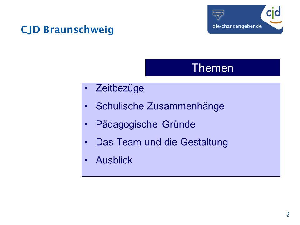 CJD Braunschweig 2 Themen Zeitbezüge Schulische Zusammenhänge Pädagogische Gründe Das Team und die Gestaltung Ausblick