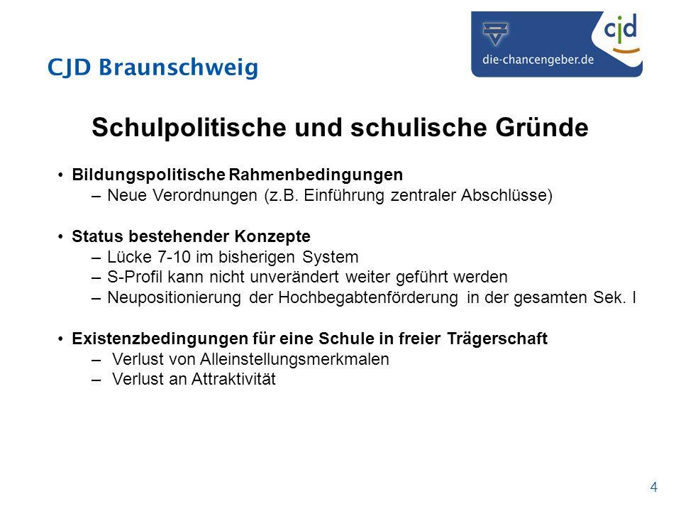 CJD Braunschweig 4 Schulpolitische und schulische Gründe Bildungspolitische Rahmenbedingungen –Neue Verordnungen (z.B. Einführung zentraler Abschlüsse