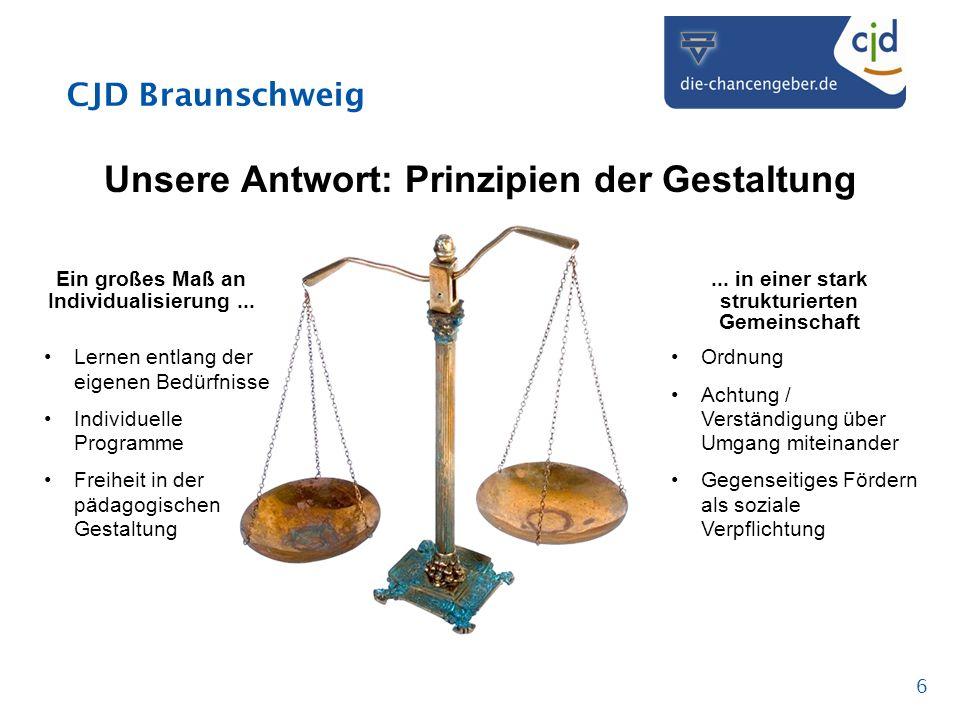 CJD Braunschweig 6 Unsere Antwort: Prinzipien der Gestaltung Ein großes Maß an Individualisierung...... in einer stark strukturierten Gemeinschaft Ler