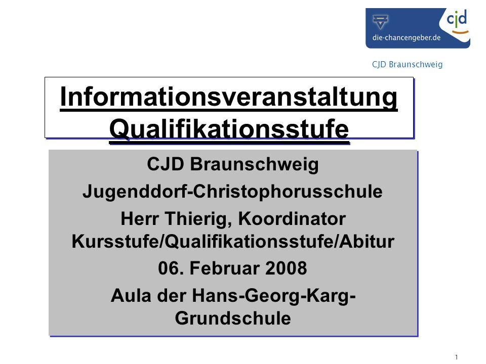 CJD Braunschweig 1 Informationsveranstaltung Qualifikationsstufe CJD Braunschweig Jugenddorf-Christophorusschule Herr Thierig, Koordinator Kursstufe/Qualifikationsstufe/Abitur 06.
