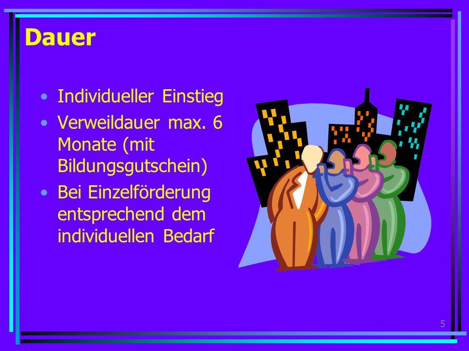 5 Dauer Individueller Einstieg Verweildauer max.