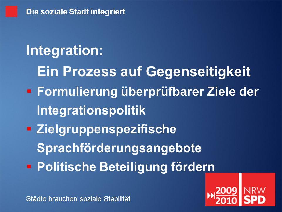 Städte brauchen soziale Stabilität Die soziale Stadt integriert Integration: Ein Prozess auf Gegenseitigkeit Formulierung überprüfbarer Ziele der Integrationspolitik Zielgruppenspezifische Sprachförderungsangebote Politische Beteiligung fördern