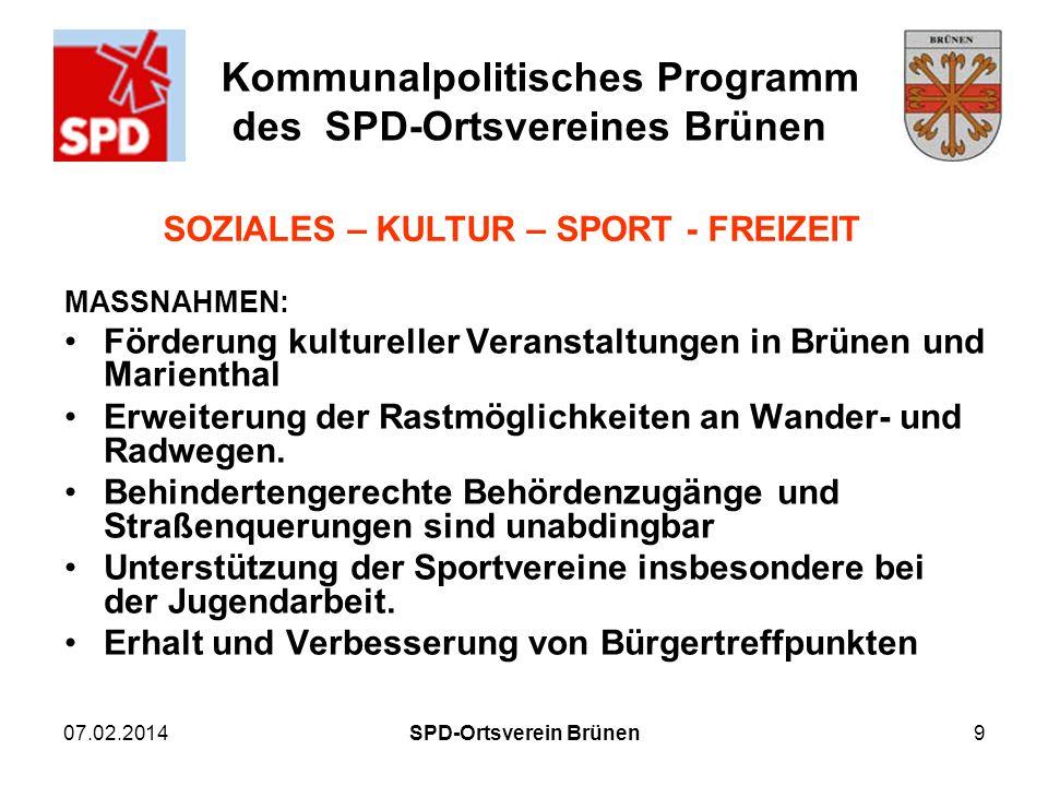 Kommunalpolitisches Programm des SPD-Ortsvereines Brünen 07.02.2014SPD-Ortsverein Brünen9 MASSNAHMEN: Förderung kultureller Veranstaltungen in Brünen