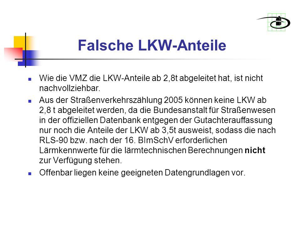 Falsche LKW-Anteile Wie die VMZ die LKW-Anteile ab 2,8t abgeleitet hat, ist nicht nachvollziehbar.