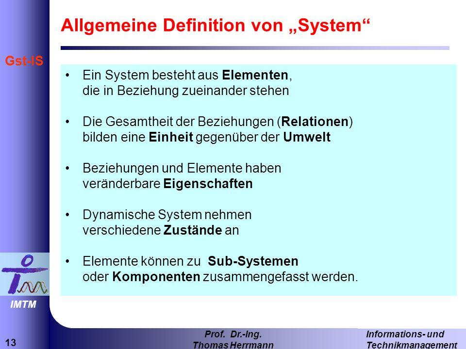 13 Informations- und Technikmanagement Prof.Dr.-Ing.