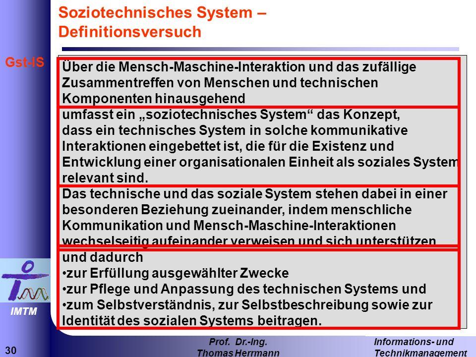 30 Informations- und Technikmanagement Prof.Dr.-Ing.