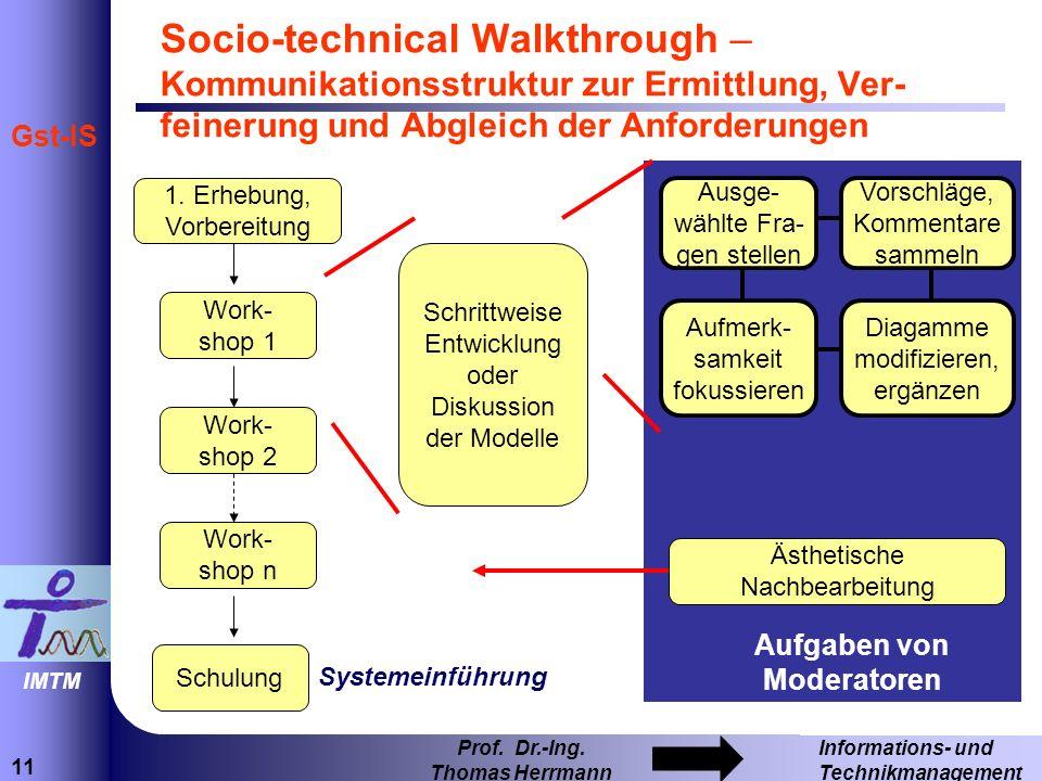11 Informations- und Technikmanagement Prof. Dr.-Ing. Thomas Herrmann IMTM Gst-IS Aufgaben von Moderatoren Socio-technical Walkthrough – Kommunikation