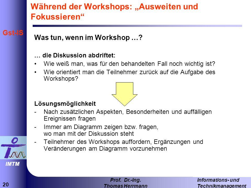 20 Informations- und Technikmanagement Prof. Dr.-Ing. Thomas Herrmann IMTM Gst-IS Während der Workshops: Ausweiten und Fokussieren Was tun, wenn im Wo