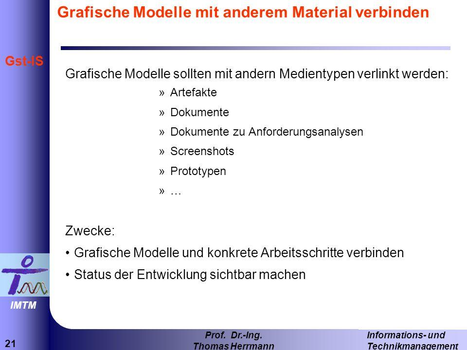21 Informations- und Technikmanagement Prof. Dr.-Ing. Thomas Herrmann IMTM Gst-IS Grafische Modelle mit anderem Material verbinden Grafische Modelle s