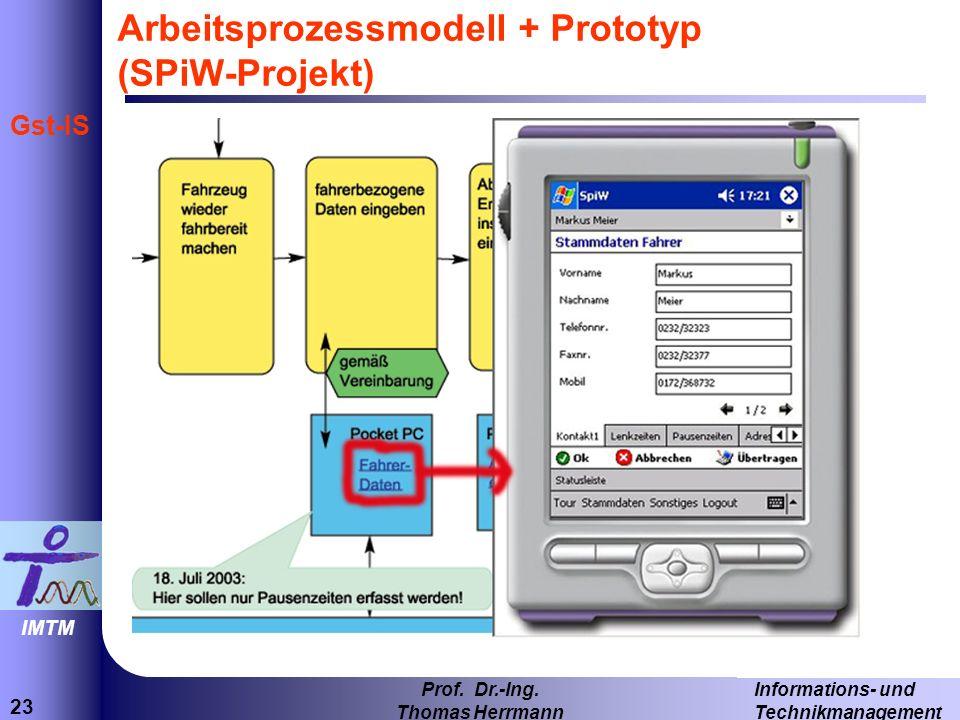 23 Informations- und Technikmanagement Prof. Dr.-Ing. Thomas Herrmann IMTM Gst-IS Arbeitsprozessmodell + Prototyp (SPiW-Projekt)