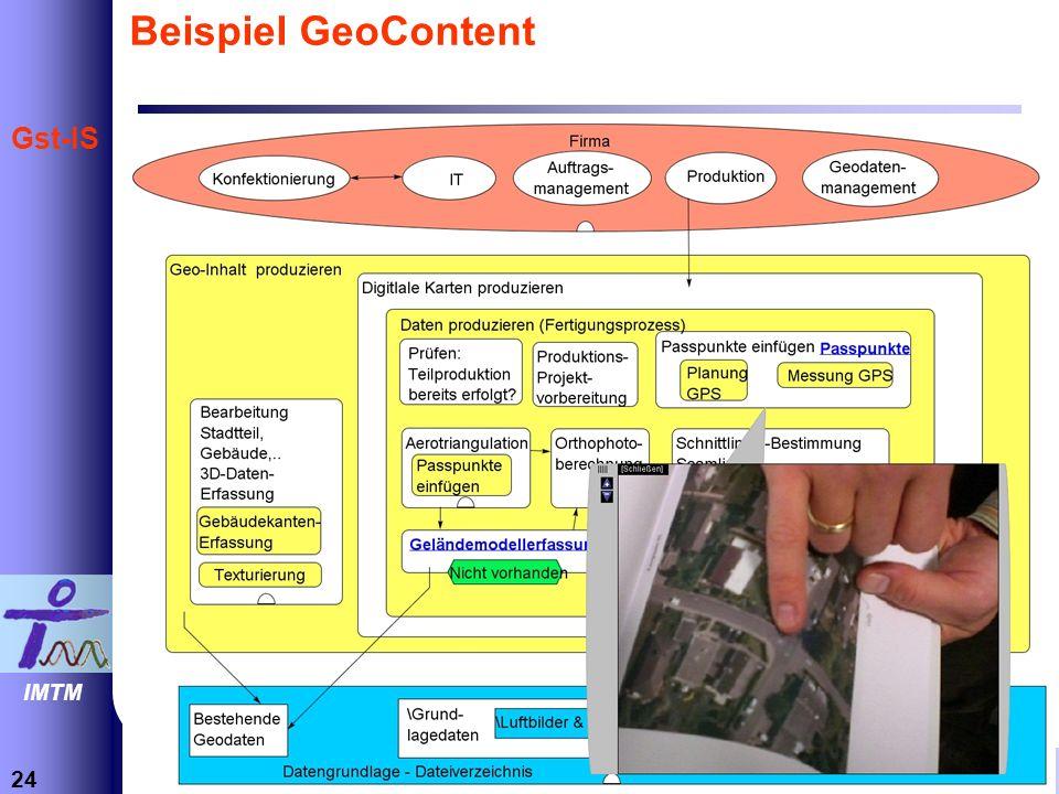 24 Informations- und Technikmanagement Prof. Dr.-Ing. Thomas Herrmann IMTM Gst-IS Beispiel GeoContent