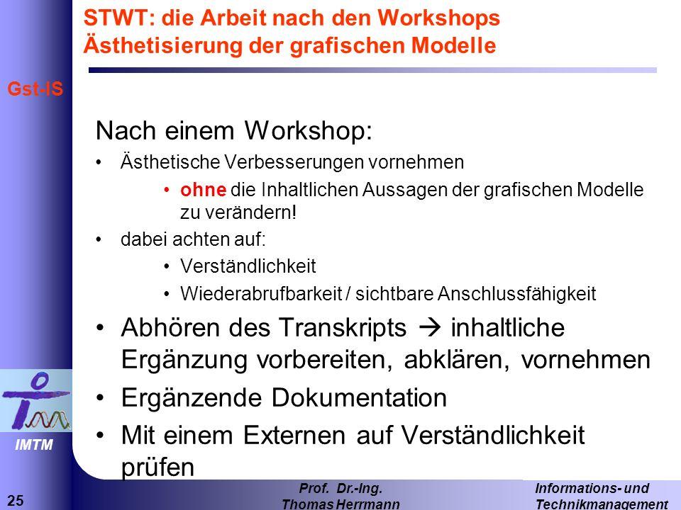 25 Informations- und Technikmanagement Prof. Dr.-Ing. Thomas Herrmann IMTM Gst-IS STWT: die Arbeit nach den Workshops Ästhetisierung der grafischen Mo