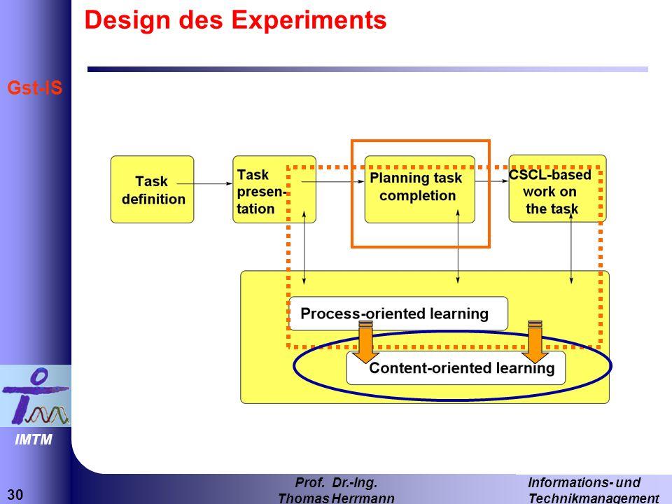 30 Informations- und Technikmanagement Prof. Dr.-Ing. Thomas Herrmann IMTM Gst-IS Design des Experiments