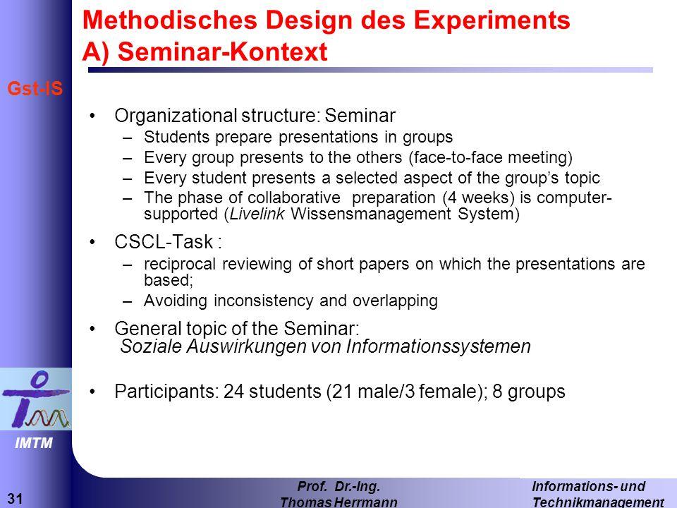 31 Informations- und Technikmanagement Prof. Dr.-Ing. Thomas Herrmann IMTM Gst-IS Methodisches Design des Experiments A) Seminar-Kontext Organizationa