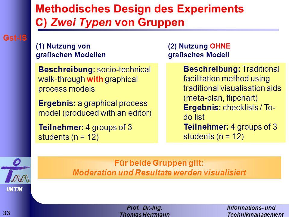 33 Informations- und Technikmanagement Prof. Dr.-Ing. Thomas Herrmann IMTM Gst-IS (1) Nutzung von grafischen Modellen Beschreibung: socio-technical wa