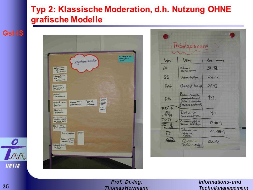 35 Informations- und Technikmanagement Prof. Dr.-Ing. Thomas Herrmann IMTM Gst-IS Typ 2: Klassische Moderation, d.h. Nutzung OHNE grafische Modelle