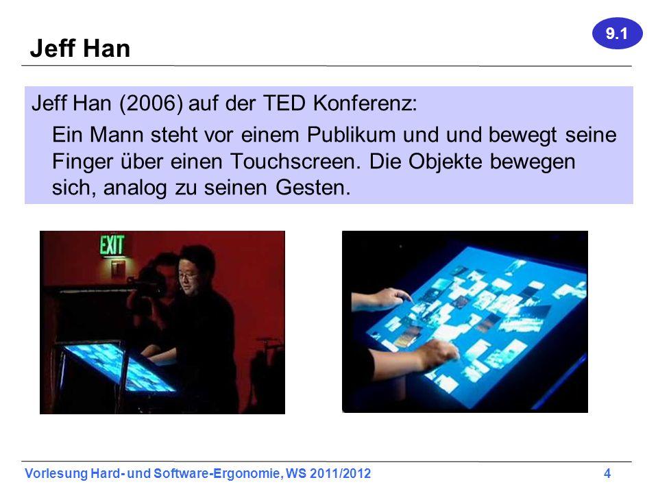 Vorlesung Hard- und Software-Ergonomie, WS 2011/2012 5 Prinzipielle Unterschiede: Generell lassen sich heute zwei Arten von Gesten Interfaces unterscheiden: Touchscreen und free-form.
