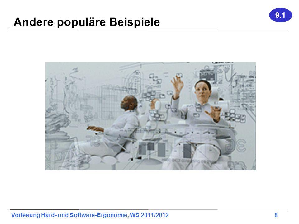 Vorlesung Hard- und Software-Ergonomie, WS 2011/2012 39 Cursor-Offset 9.3 Beispiel:Fixes Offset
