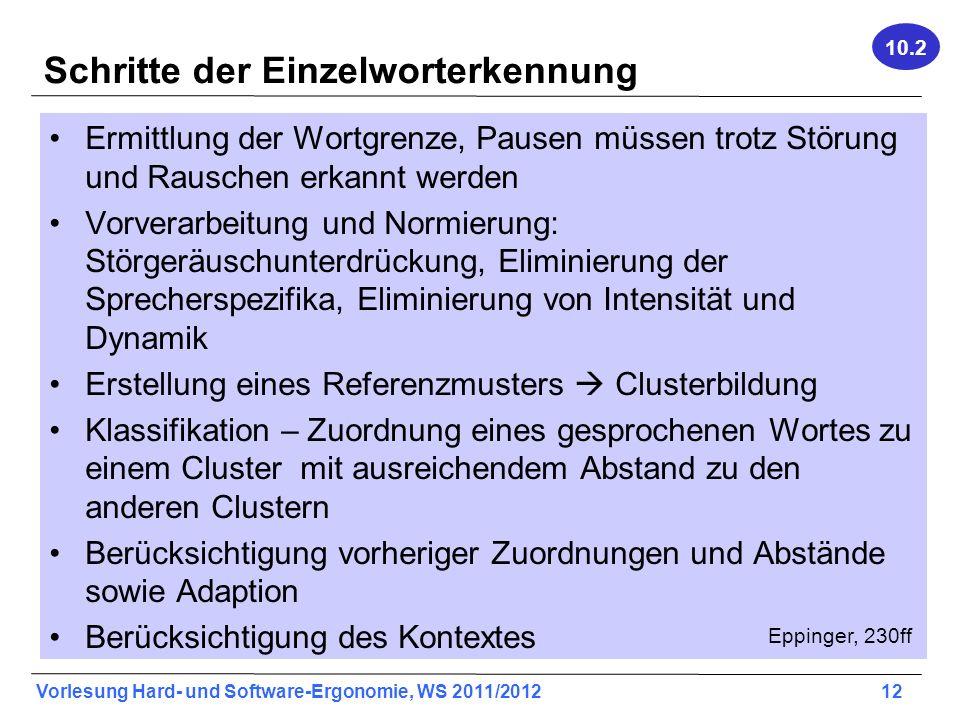 Vorlesung Hard- und Software-Ergonomie, WS 2011/2012 12 Schritte der Einzelworterkennung Ermittlung der Wortgrenze, Pausen müssen trotz Störung und Ra