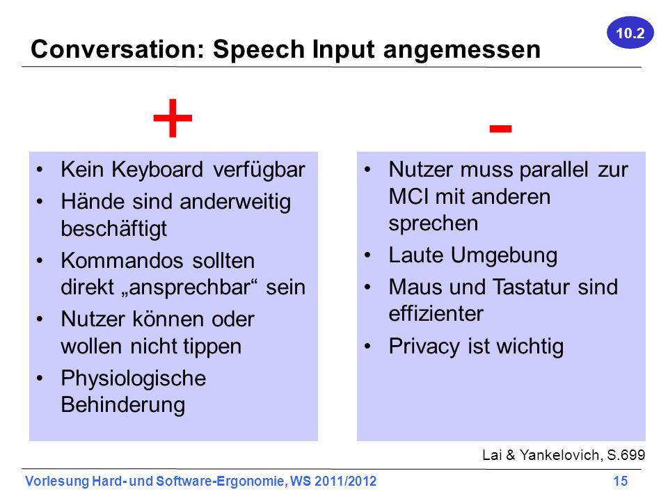 Vorlesung Hard- und Software-Ergonomie, WS 2011/2012 15 Conversation: Speech Input angemessen Kein Keyboard verfügbar Hände sind anderweitig beschäfti