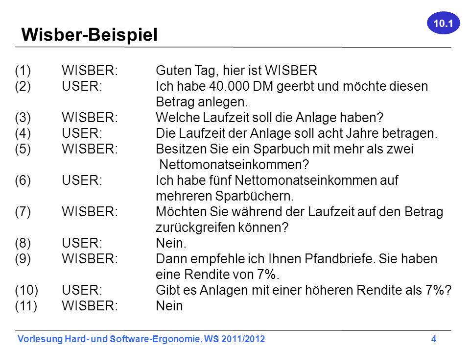Vorlesung Hard- und Software-Ergonomie, WS 2011/2012 4 Wisber-Beispiel (1) WISBER: Guten Tag, hier ist WISBER (2) USER: Ich habe 40.000 DM geerbt und
