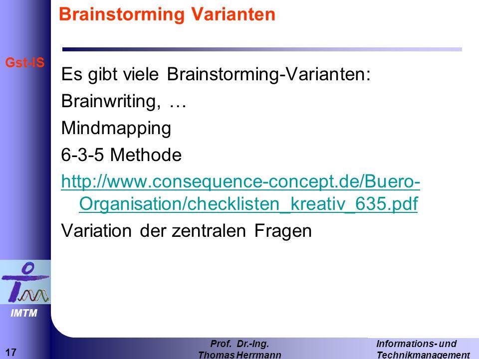 17 Informations- und Technikmanagement Prof.Dr.-Ing.