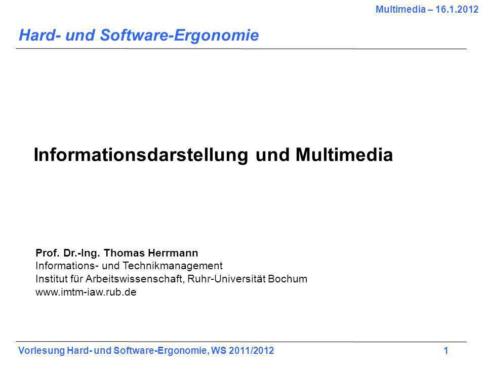 Vorlesung Hard- und Software-Ergonomie, WS 2011/2012 22 Beispiele: multidimensionale Daten Shneiderman, 605, 15-9